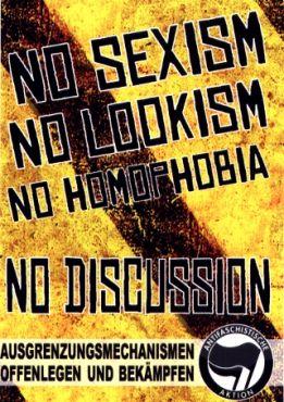 Aufkleber No sexism, no lookism