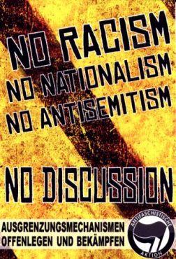 Aufkleber No racsim, no nationalism