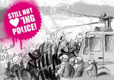 Aufkleber Still not loving police!