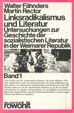 (Antiquariat) Linksradikalismus und Literatur, Band 1