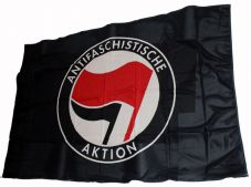 Fahne Antifaschistische Aktion / schwarz-rot 3